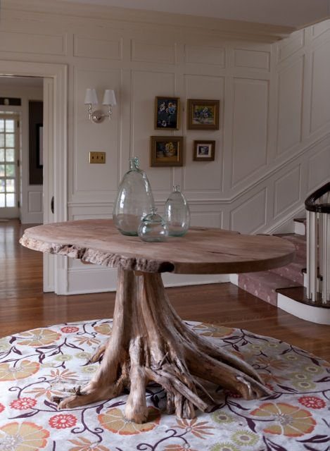 Groundwork Root Base Centerhall Table Made Of Reclaimed Cedar Tree Stump  With Natural Edge Wood Top