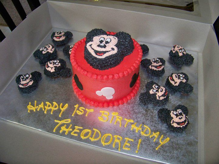 mickey cake with cupcakes | Mickey smash cake and cupcakes — Children's Birthday Cakes