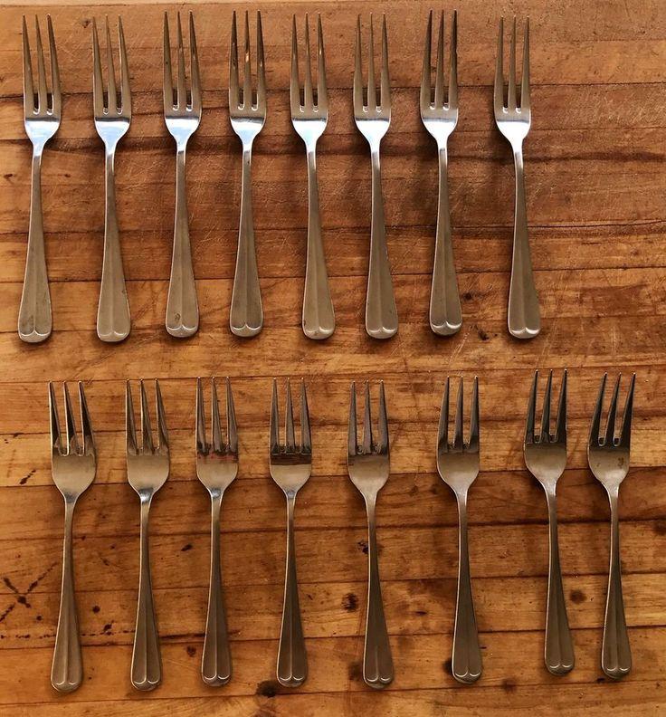 Northland Stainless Steel Flatware Modern Set Of Serving Forks 16 Pieces Shiny | eBay