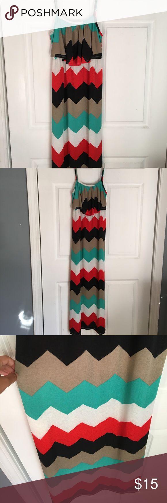 Chevron Maxi Dress Beautiful Chevron Maxi Dress. Good shape! Has adjustable straps. Dresses Maxi