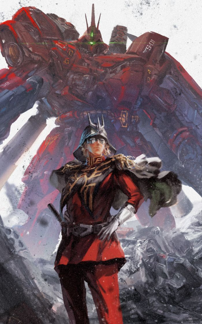 Char Aznable and Sazabi Painting