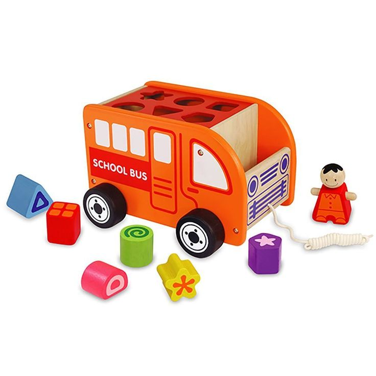 It's a school bus - it's not yellow - it's lots of fun - it's a shape sorter and it's a pull along toy too. With fun shapes to fit into the holes on the roof a driver to hop out and check the tyres. the roof comes off so it's easy to get the shapes out again. Shape sorters are such a popular toy for little kids because it helps with fine motor skills colours shape recognition and it KEEPS THEM BUSY! Kids can repeat an action over and over and still enjoy it. If you're getting bored then you…