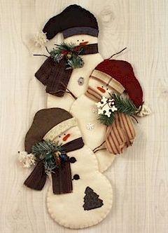 Countryside Crafts Felt Pattern - Snowman Trio Wall Hanging