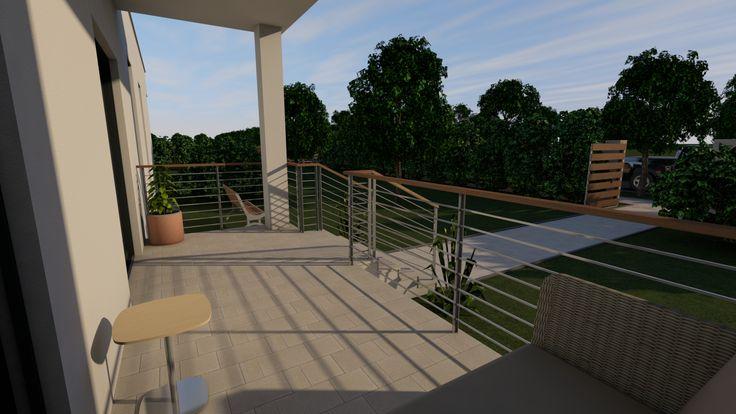Modern, 5 szobás, 229 m2-es földszintes családi ház mintaterve, alaprajzzal A reggeli napfényben pompázó bejárat.