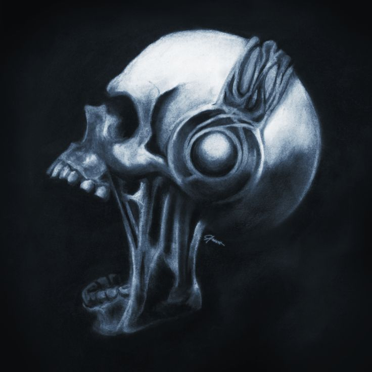 Order Prints and Merch: https://society6.com/product/skull--headphones_print#1=45  #chalk #charcoal #headphones #skull #halloween