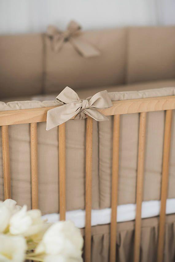 Brown baby nursery bumper baby bedding crib guard brown