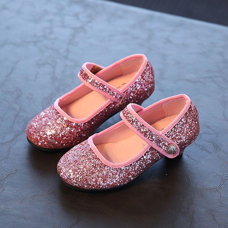 2016新しい秋のファッションスパンコールでハイヒール赤ちゃん女の子王女シューズキッズ女の子の靴春子供通気性の靴26-30(China (Mainland))