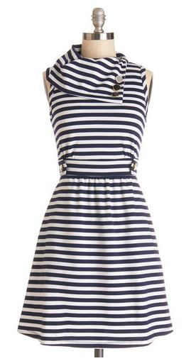 Coach tour dress in navy stripes