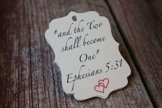 Ephesians 5:31, Wedding Favor Tags, Wedding Tags, Christian Wedding, Wedding Favors, Bridal Shower Favors
