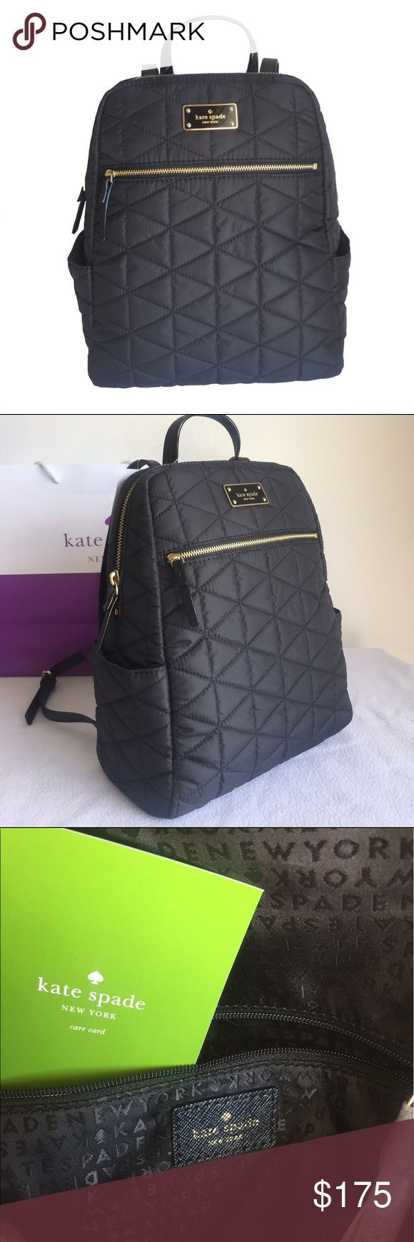 "KATE SPADE ♠️""Hilo/Blake Avenue"" Quilted Backpack! KATE SPADE ♠️""Hilo/Blake Avenue"" Quilted Backpack! Measurements are approximately 9"" x 12"" x 4"". 14K gold plated hardware. Adjustable shoulder strap. One large exterior zipper pocket and two side slip pockets. Brand-new with tags! kate spade Bags Backpacks"
