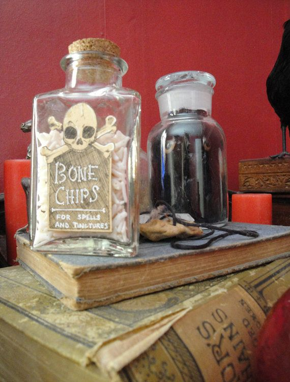 Bone Chips Halloween Bottle Original. Great for decor, props, cosplay, spook houses. Creepy.