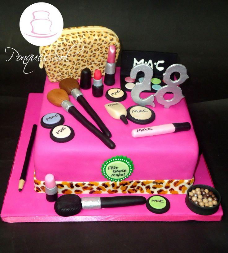 Ponqué / Torta de cumpleaños maquillaje - Makeup cake