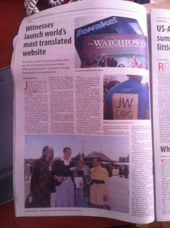 Newspaper Article, Hahare, Zimbabwe - Re. JW August 2014 Global Campaign, Announcing Website jw.org