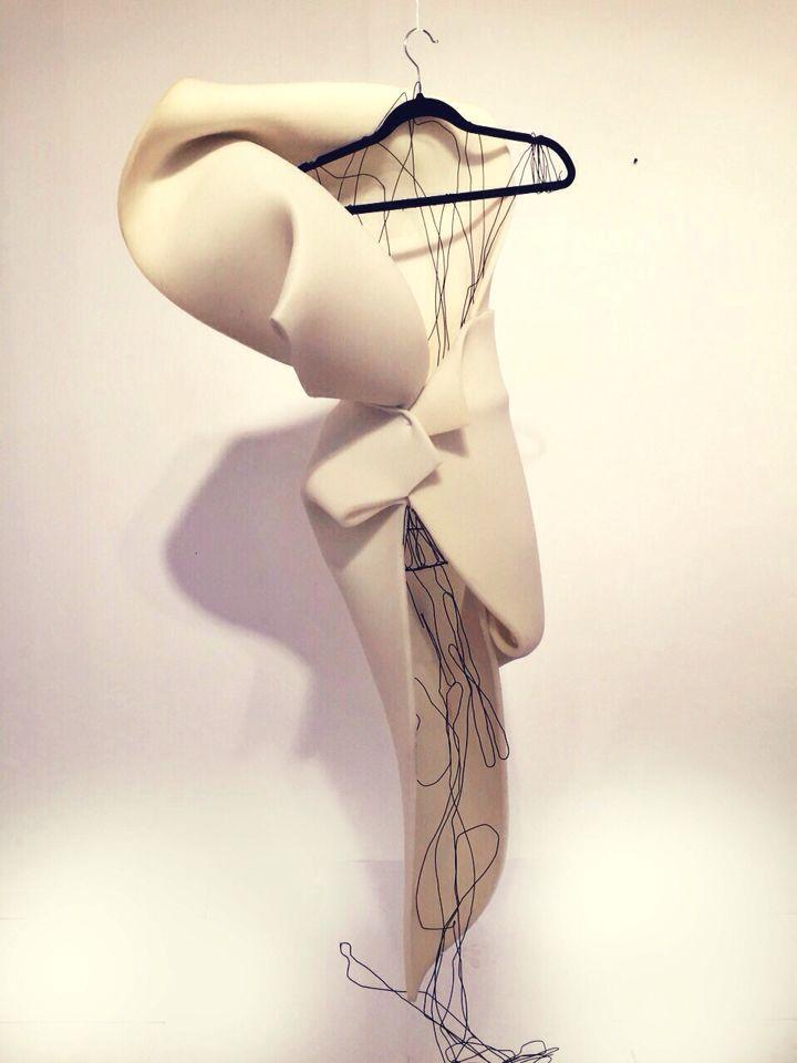 Architecture inspired sculptural 3D  fluid fashion dress. Art installation. String art.