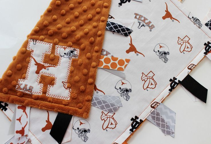 taggie, blanket, personalized, baby, gift, UT, University of Texas, Longhorns, burnt orange, white, minky, ribbon, lovey by kristensfaves on Etsy