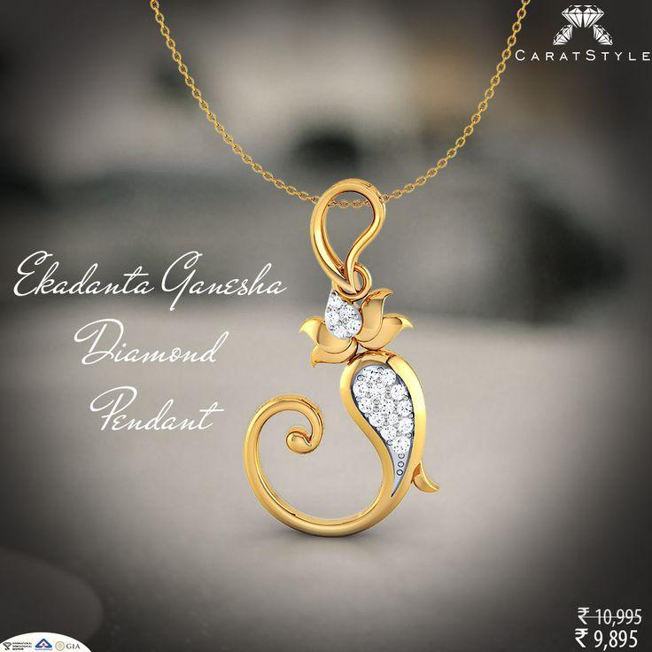 Shop Gold & #Diamond Studded Ekadanta #Ganesha #Pendant. #ganeshapendant