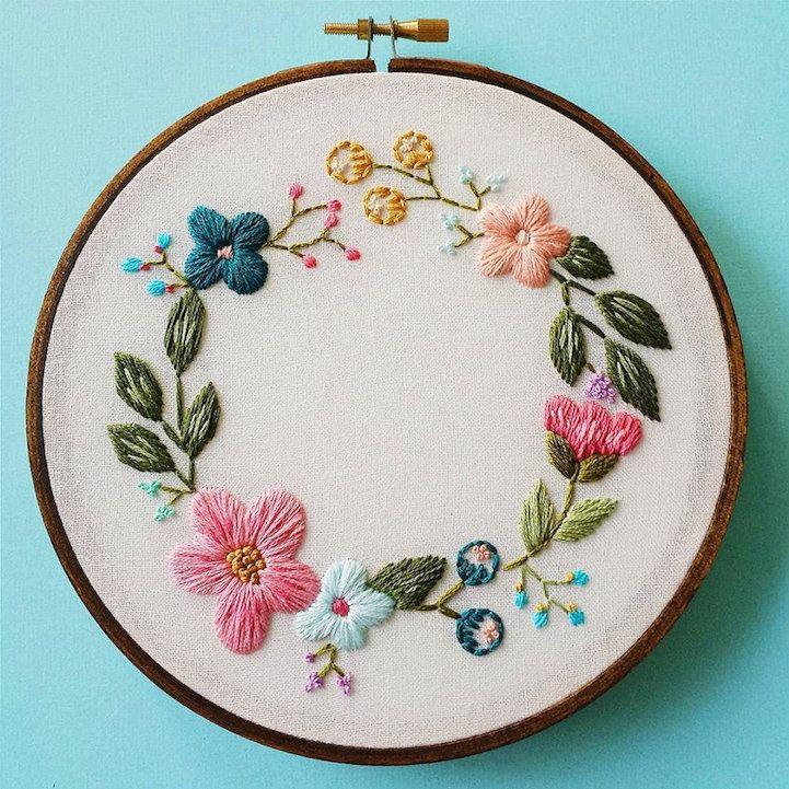Delicado arte del aro de bordado de flores con motivos florales - Mi Modern Met
