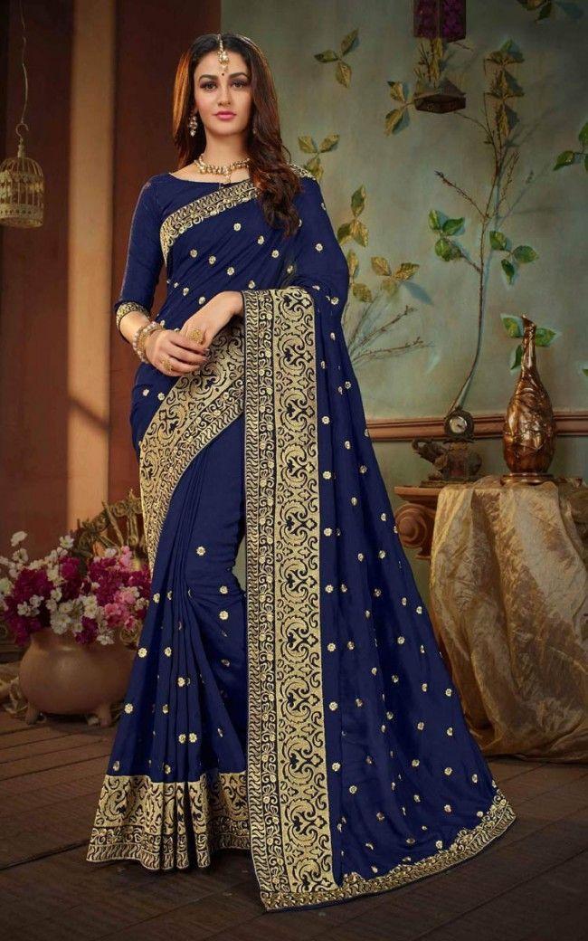 3b9b03725f810 Buy Navy Blue Silk Designer Saree Online