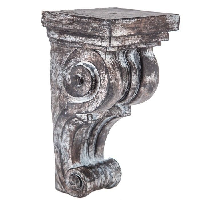 Distressed Scroll Corbel Add A Darling Accessory To Your Space With Distressed Scroll Wood Corbel This Beau Corbels Wood Corbels Large Wall Shelves