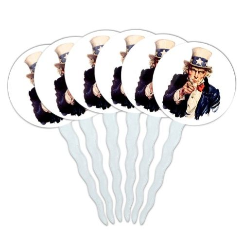 Uncle Sam USA Cupcake Picks Toppers - Set of 6