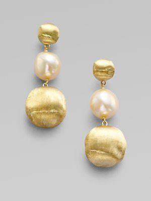 Marco Bicego: Freshwater Pearl & 18K Yellow Gold Earrings