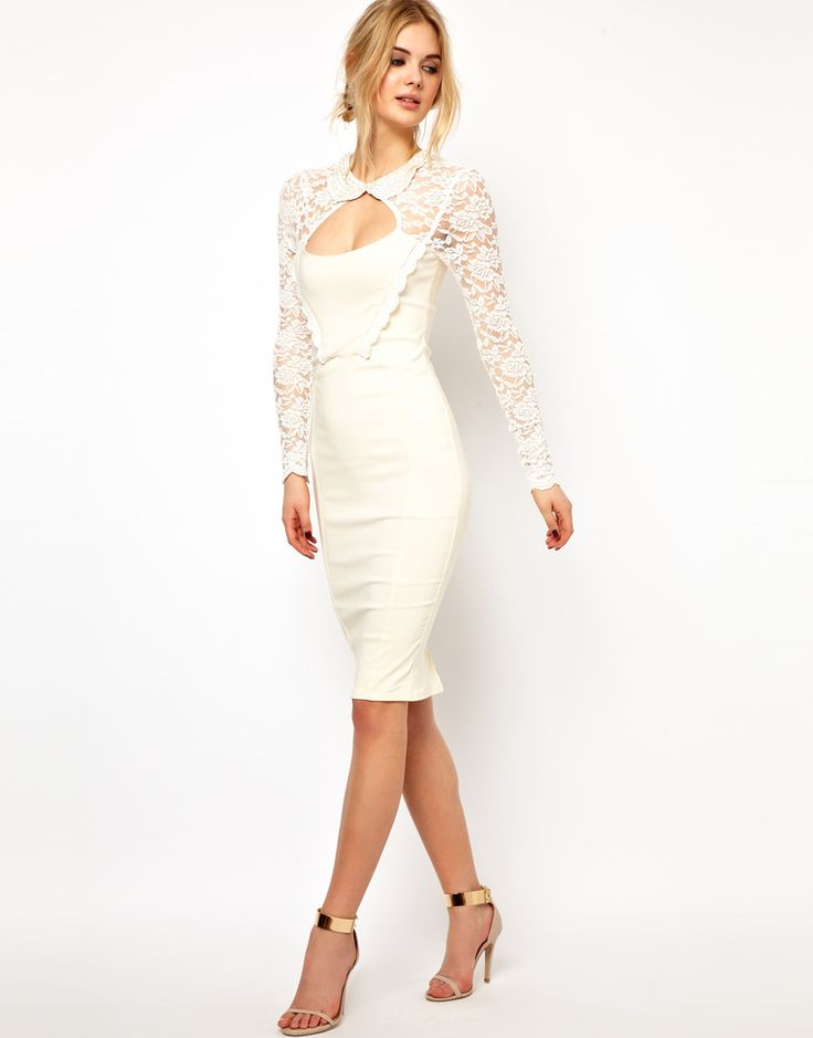 Tempest | Tempest Dolly Pencil Dress with Lace Sleeve and Beaded Collar at ASOS