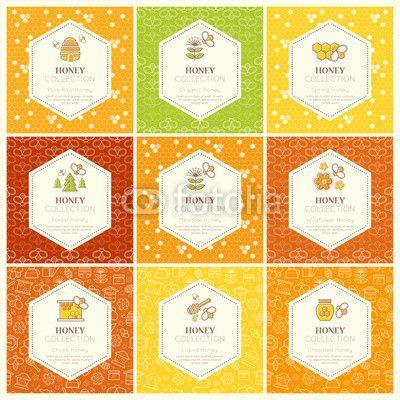 Materiał do szycia Vector packaging design - natural honey collection. Zobacz materiały do szycia drukowane na zamówienie autora lumitar. Zamów bawełniany materiał do szycia z wzorem w biznes, bezszwowe, układ, miód, organiczny, sprężyna, las, łąka, wildflower, skiba, płyn, bee, naturalny, zdrowy, jedzenie, pokarm, deser, pszczelarstwo, pszczelarstwo, rolnictwo, plaster miodu, nektar, znak, etykieta, godło, ilustracja, symbol, linia, liniowy, udar, ciepły, żółty, złoto, spółka.