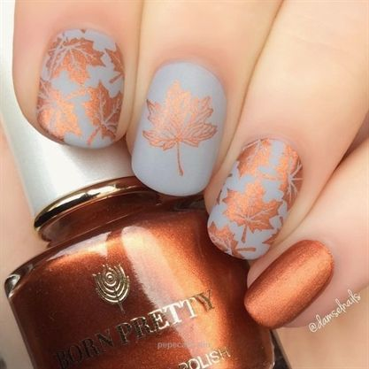60+ Must Try Nail Designs This Autumn; Fall Flowers Nail Design; Fall nails fall nail art pumpkin na