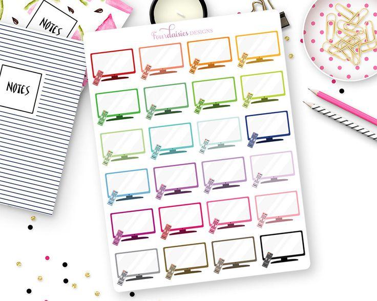 24 TV Planner Stickers for Erin Condren Life Planner Plum