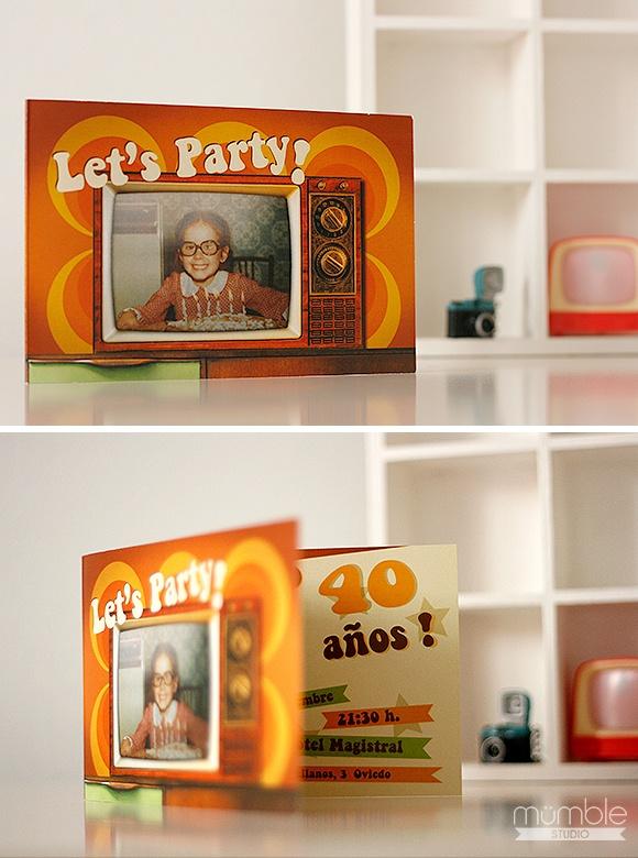 Invitaciones de cumpleaños para una chica que entraba a formar parte del club de los 40... y que mejor manera que volviendo a los 70!