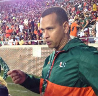 Photo: A-Rod Is On The Sideline At FSU-Miami, Sporting Hurricane Gear | College Spun