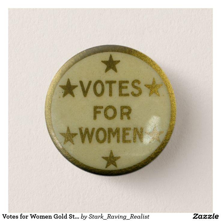 Votes for Women Gold Star Retro Button