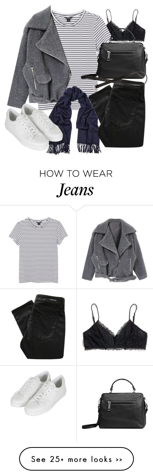 """""""Untitled #18928"""" by florencia95 on Polyvore featuring Madewell, Monki, Linea Pelle, Acne Studios, Denham, H&M and Topshop"""