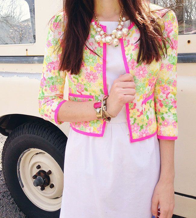 Sarah Vickers in our Nelle Jacket in Multi Floral Sunbonnet Lace