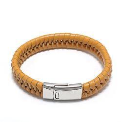 Yellow Leather Braided Bracelet