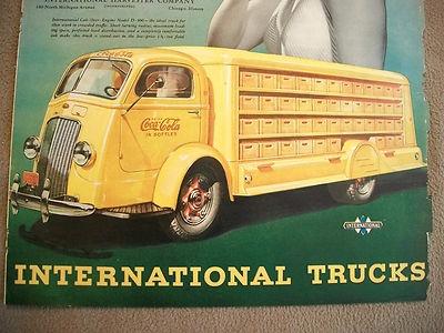 Yellow Coca Cola / International Harvester Truck Advertisement Coke
