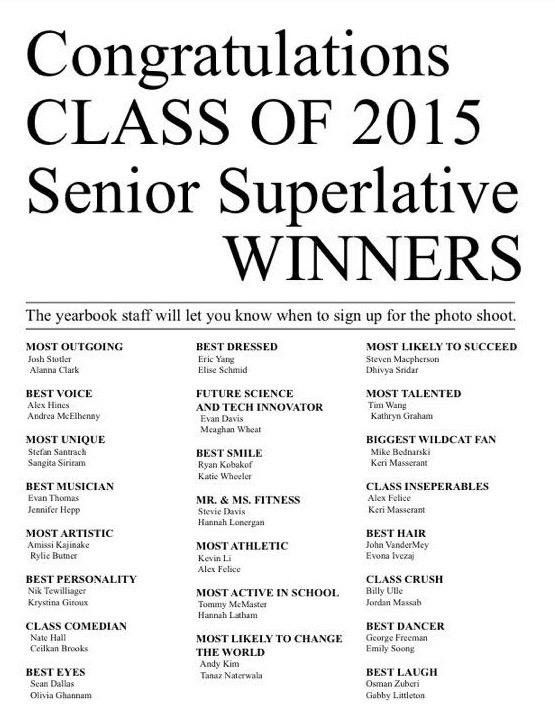 Image result for senior superlatives yearbook