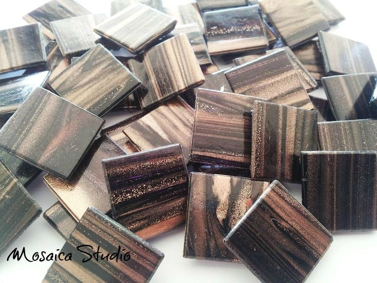 Black Plum Gold Thread Tiles 20x20x4mm x50pc by MosaicStudio1 on Etsy