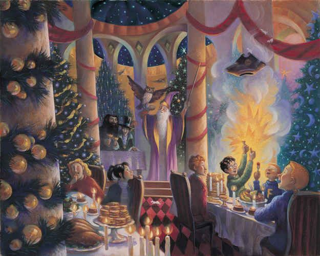 """""""Christmas in the Great Hall""""   16 Rare """"Harry Potter"""" Illustrations From The Books' Artist"""