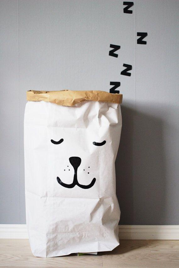 Sleeping Bear paperbag storage of toys books or teddy bears - Kids interior