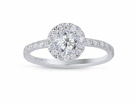 Diamond Studs Forever - Halo-Verlobungsring - 3/4 ct. Diamanten GH/I1 - Weißgold 14 K - IGI-zertifiziert