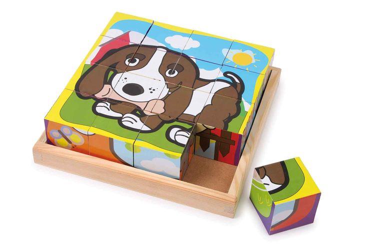 Op 16 houten blokken (4,5 x 4,5 cm) zijn 6 verschillende motieven in naïef design een uitdaging voor de vorm- en kleurherkenning van de kleine puzzelliefhebbers! In de handige houten lijst worden hier met behulp van de kindvriendelijke motieven de vaardigheden op speelse wijze geoefend.