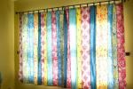 Fabric strip curtains...definitely doing this, now I just have to find the fabric I like