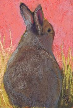 """Daily Paintworks - """"Reflective Rabbit (Framed Price)"""" - Original Fine Art for Sale - © Anna Lisa Leal"""