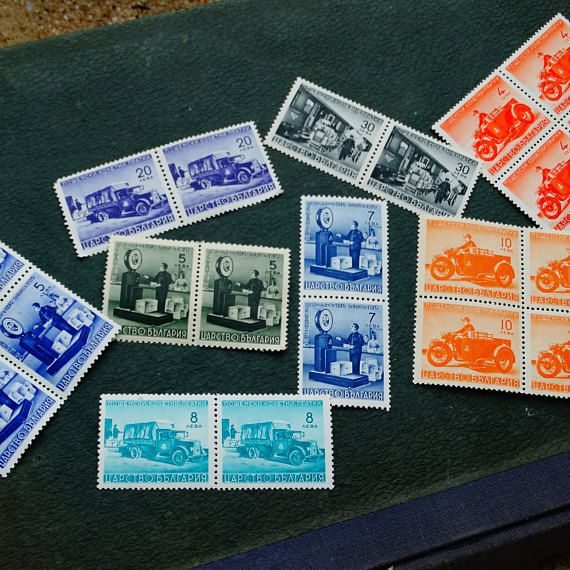 Vintage Postage Stamp Packet, Set of 50 Stamps 1941 year, Collectible stamps, Antique Postal Used Old Stamps, Stamp Collecting,