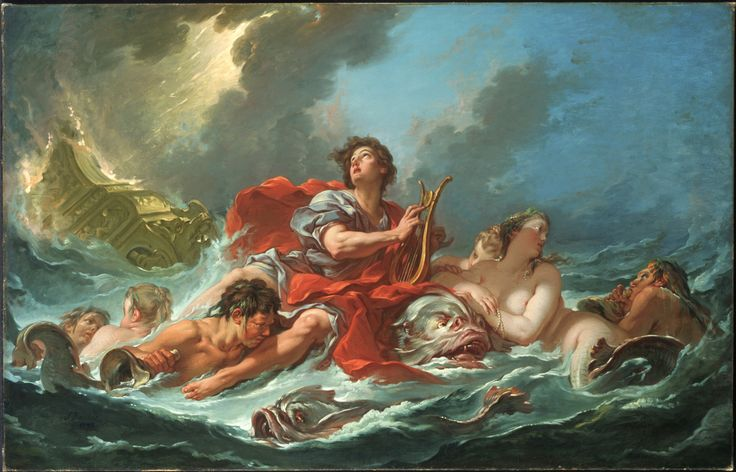 "kecobe: "" François Boucher (French; 1703–1770) Arion on the Dolphin Oil on canvas, 1748 Princeton University Art Museum, Princeton, New Jersey Then was there heard a most celestial sound Of dainty music which did next ensue, And, on the floating..."
