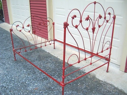 Old Antique Ornate Wrought Iron Bed Aged Red Paint Cast