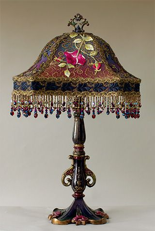 "Love the beads!  ~ ""Victorian"" Embroidered Silk Lampshade With Beautiful Ribbon Work Detail ~"