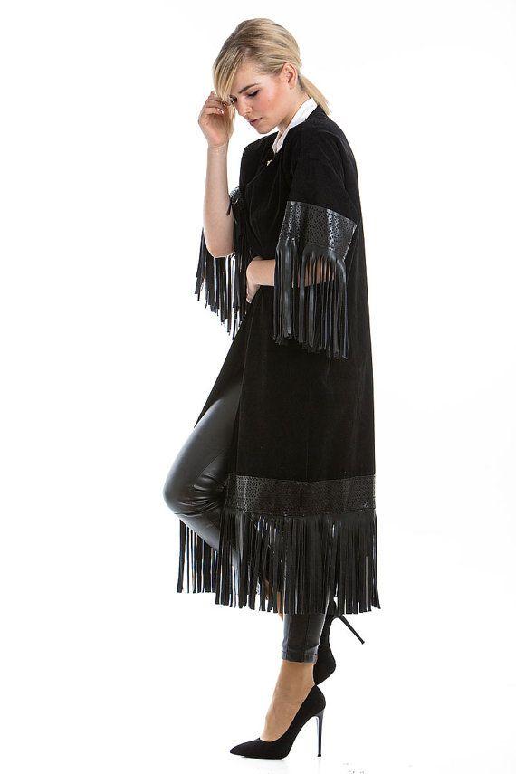 Black Suede Coat black coat with fringes by madecoutureeu on Etsy