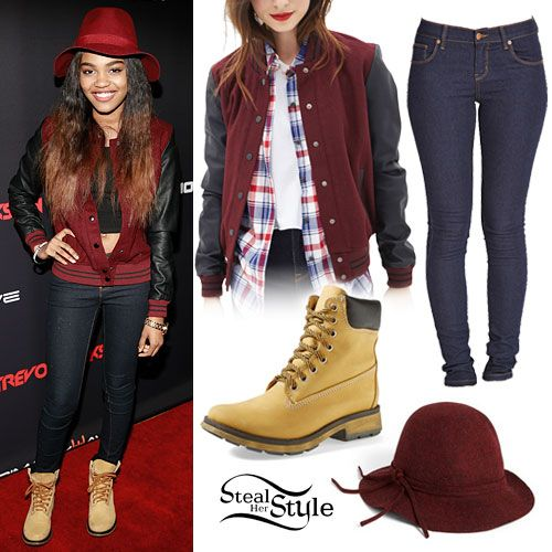 China Anne McClain: Varsity Jacket, Work Boots